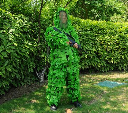 手工粘花树叶两件套伪装服